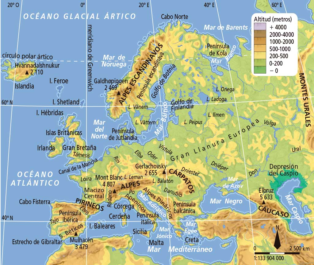 Worksheet. El medio natural de Europa y Espaa  DEMO Geografa e Historia 3