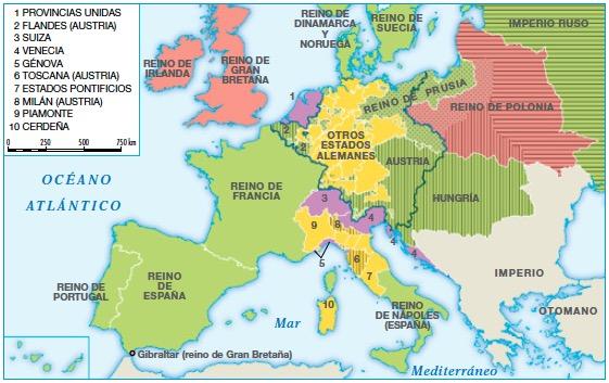 Resultado de imagen de MAPA EUROPA a mediados del siglo XVIII